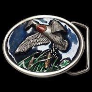 Bergamot duck hunting motif high relief pewter and enamel belt buckle 1984