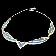 Alpaca Mexico Collar Necklace with Crushed Turquoise Inset Panels.