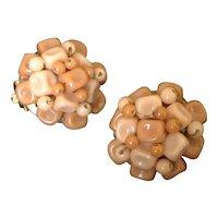 Faux coral beige bead cluster earrings made in Hong Kong