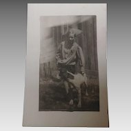 Real Photo post card of a boy and his dog, Duke, c 1913