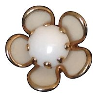 Small white milk glass flower pin in gold tone setting