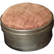 Vintage sewing kit with mirrored pin cushion lid.