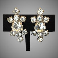 Sparkling vintage screw back prong set rhinestone earrings
