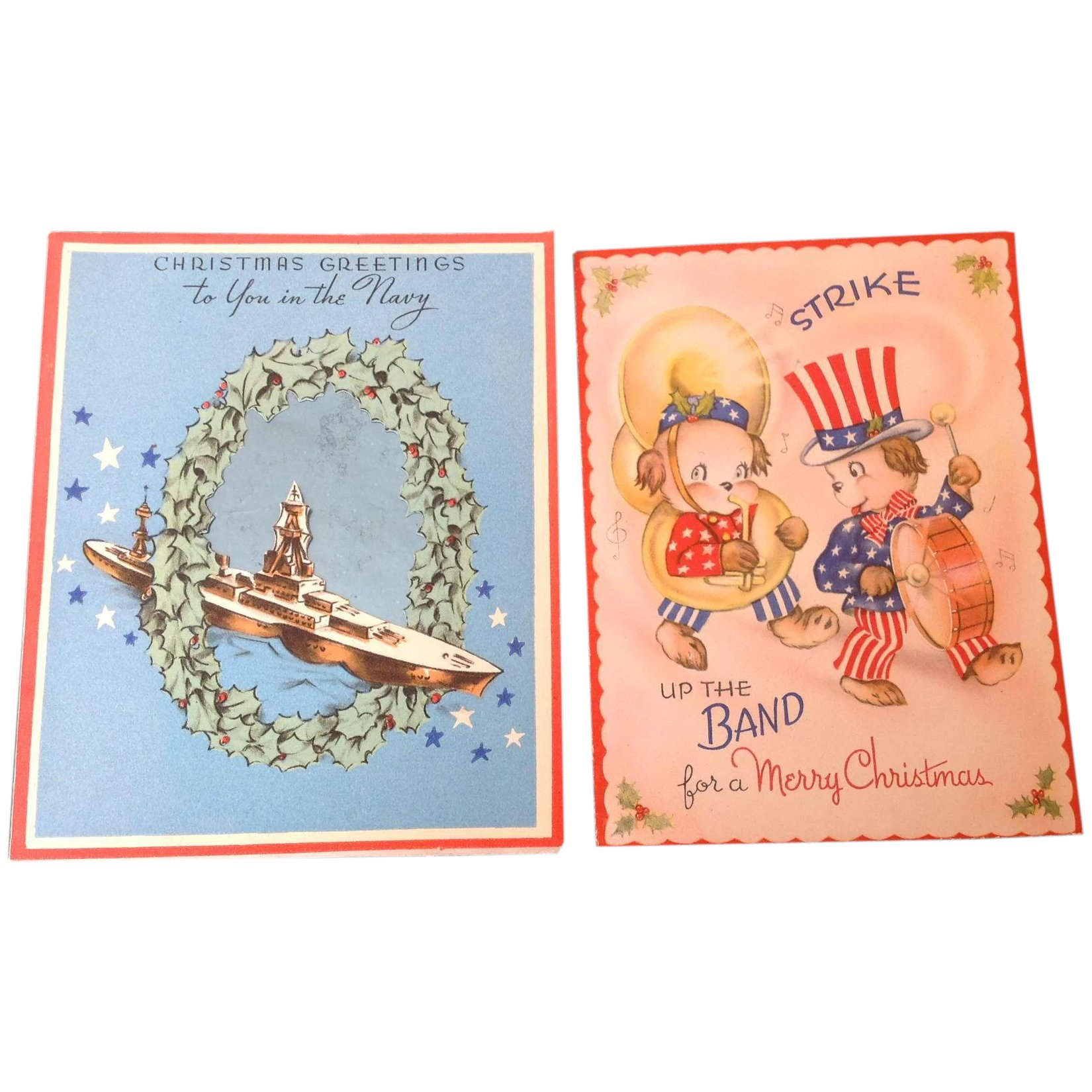 Two vintage patriotic Christmas cards Merry Christmas to You in the ...