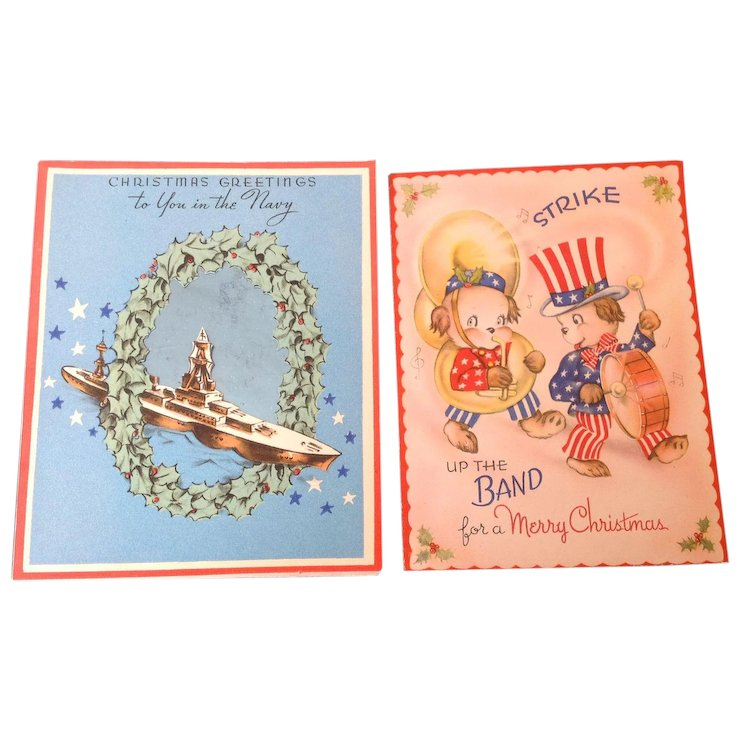 two vintage patriotic christmas cards merry christmas to you in the navy and strike up the