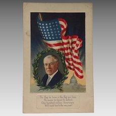 Unused Woodrow Wilson Flag Series Postcard