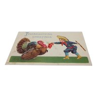 1908 Thanksgiving Greetings Boy with Big Stick and Great Big Turkey