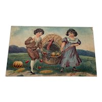 1911 Best Wishes for a Happy Thanksgiving Children with Turkey in a Basket