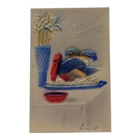 Embossed and Airbrushed Thanksgiving Postcard