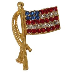 Red, White and Blue Rhinestone Old Glory American Flag Pin