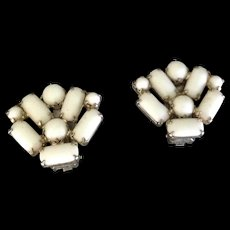 White Milk Glass fan shaped clip earrings.