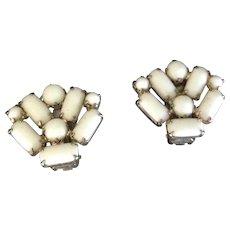 White Milk Glass fan shaped clip earrings.