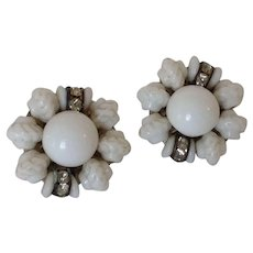 White Milk Glass Bead and Rhinestone clip earrings West Germany