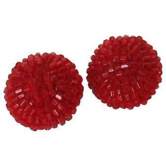 Vintage Round Red Tubular Bead Clip Earrings
