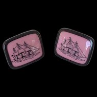 Vintage Cufflinks with Tall Sailing Ships