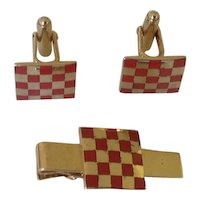 Anson Red Enamel Checkerboard Pattern Cufflinks and Tie Clasp