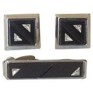 Vintage Black Glass Cufflinks and Tie Clip with Triangular Quartz Insets