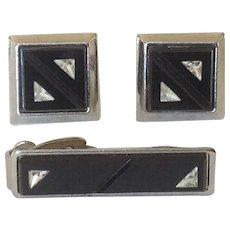 Vintage Black Glass Cufflinks and Tie Clip with Triangular Quartz Insets