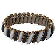 D.F.B. Co Carmen expansion bracelet with black and white glass lozenges