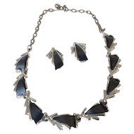 ART Slate Gray Thermoset Plastic Necklace and Earrings