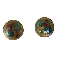 Vintage Copper and Enamel Screw-back Earrings