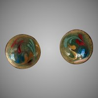 Vintage Copper and Enamel Screw-back Earrings