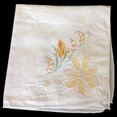Vintage handkerchief with hand embroidery and hand tinted flower petals