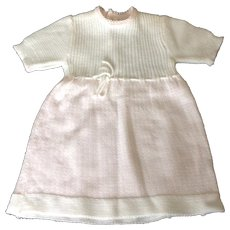 Vintage 1970's pink and white knit baby dress Saks Fifth Avenue Baby Boutique