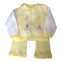 Vintage 1970's two piece yellow knit infant outfit