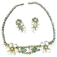 Vintage necklace and clip earrings demi-parure in sea foam green, white milk glass and green AB rhinestones