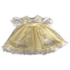Vintage yellow infant dress  with appliqué ducks
