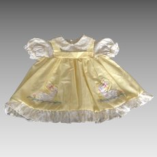 Vintage yellow infant dress  with appliqué ducks