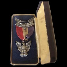 Robbins 3 Sterling Silver Boy Scouts of America Eagle Scout Badge in Art Deco style coffin presentation case