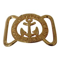 Nautical theme gold tone belt buckle