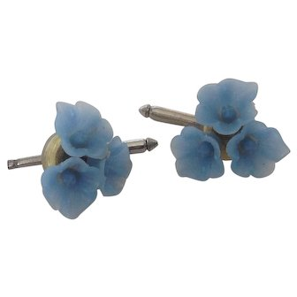 Pair of Vintage Blue Plastic Button Studs or Cuff Links