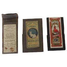 Three vintage needle packs Dix and Rands, H. Milward & Sons and Lady Chic. Nice Graphics