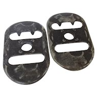 Pair of vintage coverall strap buckles with Scottie dogs