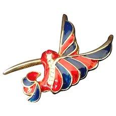 Red and Blue Enamel Hummingbird Pin