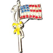 Sparkling Patriotic American Flag Pin with Yellow Ribbon