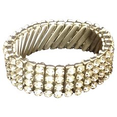 Sparkling vintage rhinestone expansion bracelet marked British Hong Kong