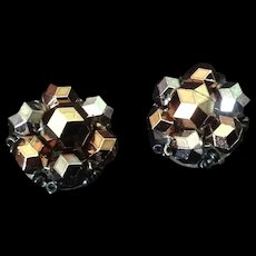 Bead cluster clip earrings in metallic tones. Western Germany