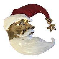 Santa Man in the Moon Enamel Christmas Pin