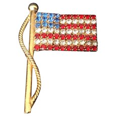 Red, White and Blue Rhinestone American flag pin