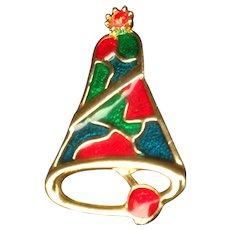 Enamel Christmas Bell Pin Signed B. J.   Beatrix Jewelry
