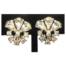 Pennino clear rhinestone clip earrings
