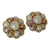 Vintage Bead Cluster Earrings with Faux Pearls, Iridescent Rhinestones and Goldtone Beads.