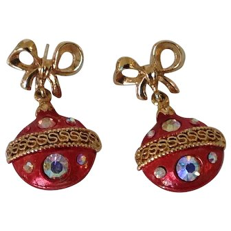 Weiss Christmas Ornament Pierced Earrings with Iridescent Rhinestones