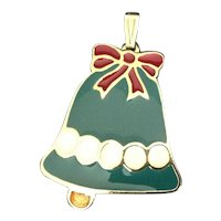 Enamel Christmas Bell Pendant Wallace Silversmiths