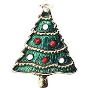 Christmas Tree Pin with Red and White Enamel Ornaments and Rhinestone Star.