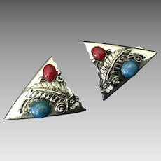 Southwest Style Silvertone Clip Earrings with Faux Turquoise Stones